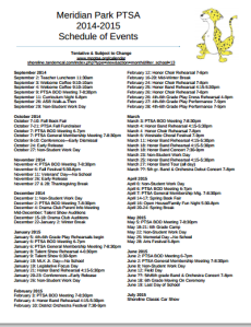 2014-2015 Year at a Glance MPPTSA Event Calendar