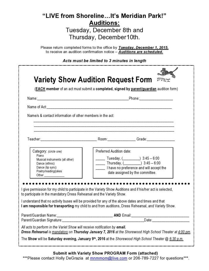 Variety Show Auditions Are Coming Soon | Meridian Park Ptsa